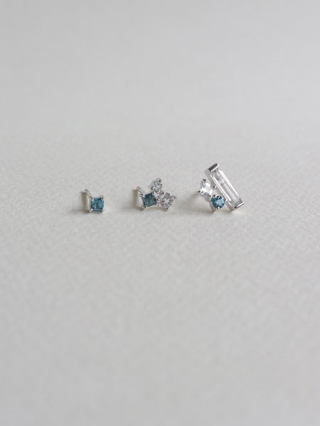 Keira Ear Stud Stacking Set - London Blue Topaz (Silver)