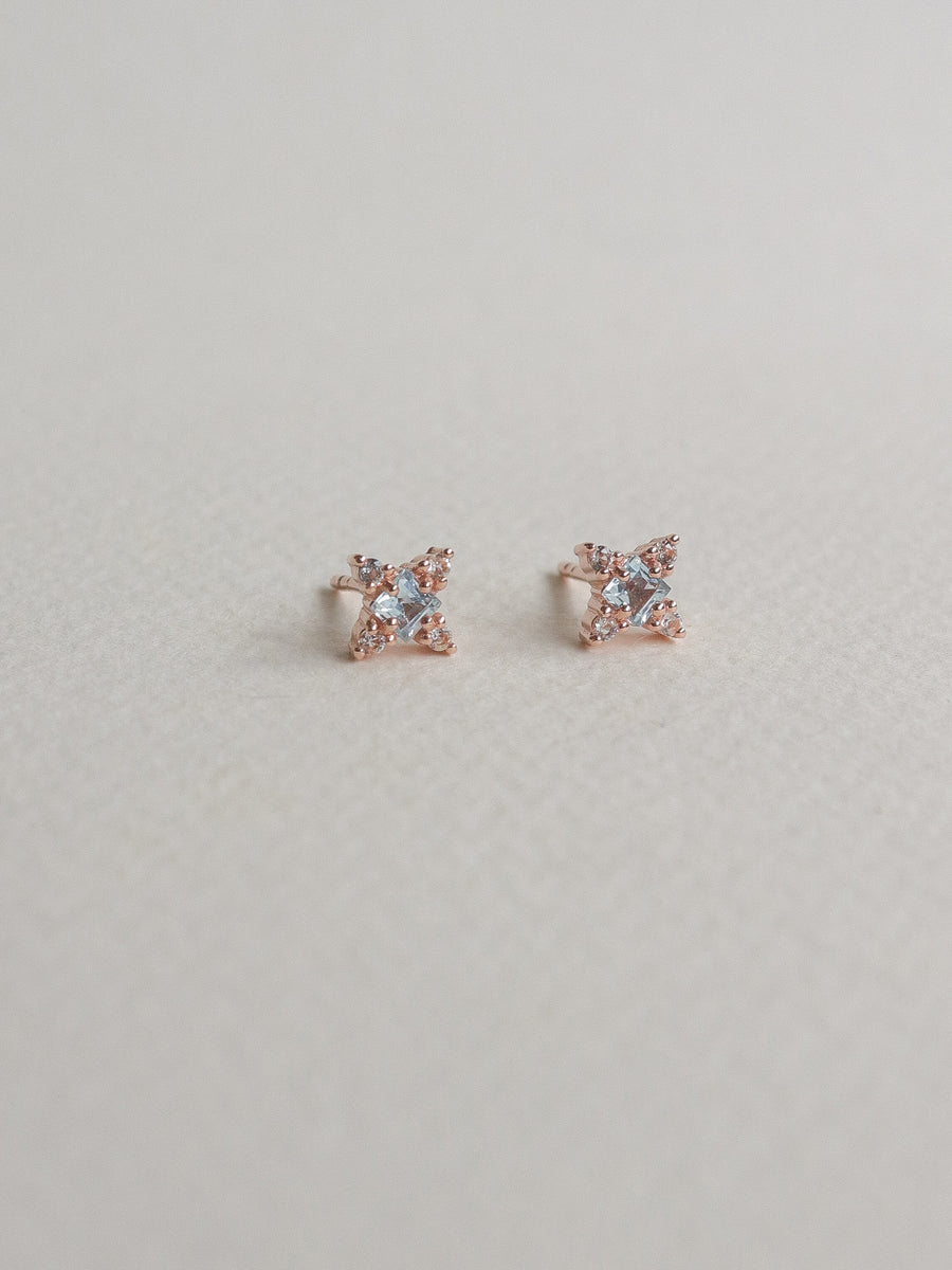 Kylie Ear Studs - Sky Blue Topaz (Rose Gold)