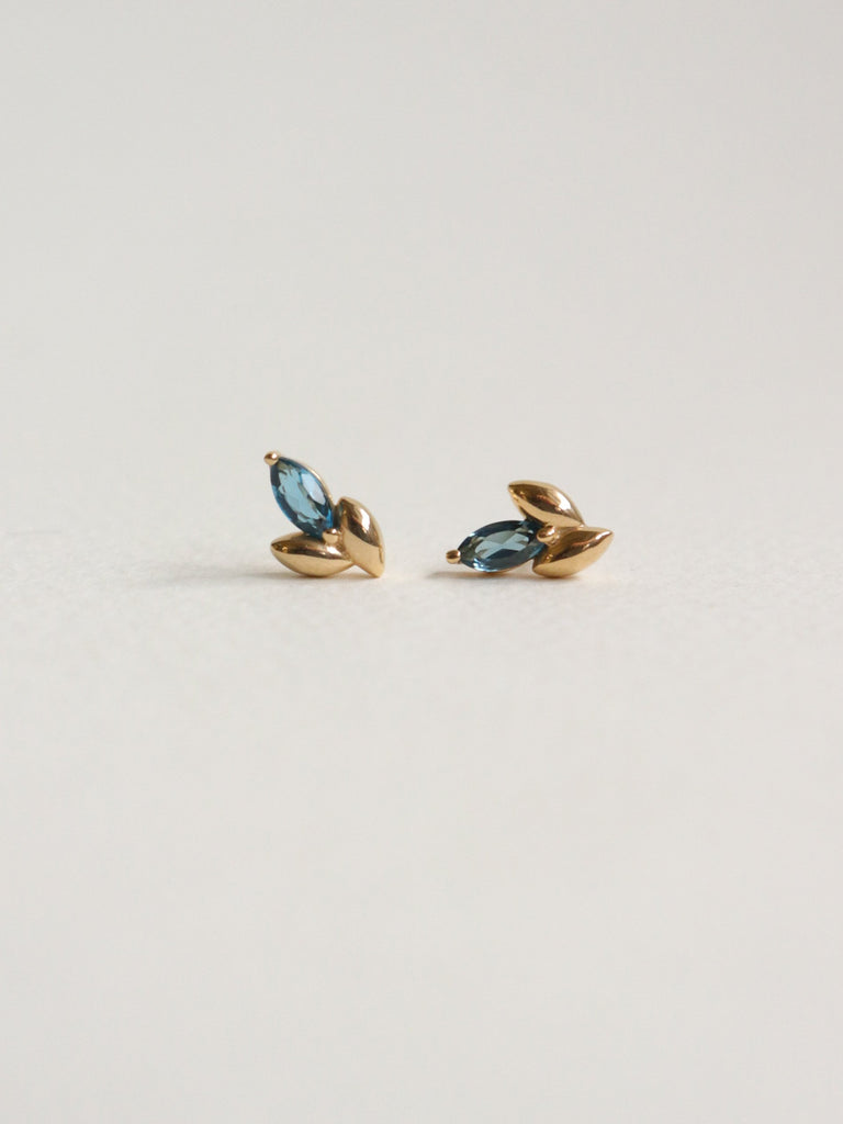 Laura Earstuds - London Blue Topaz Marquise in Gold