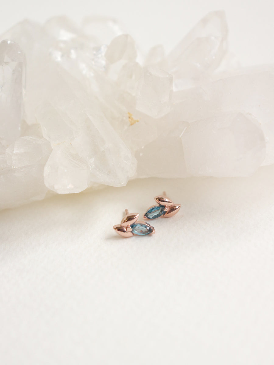 Laura Earstuds - London Blue Topaz Marquise in Rose Gold