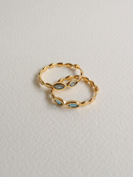 Leona Hoops - London Blue Topaz in Gold