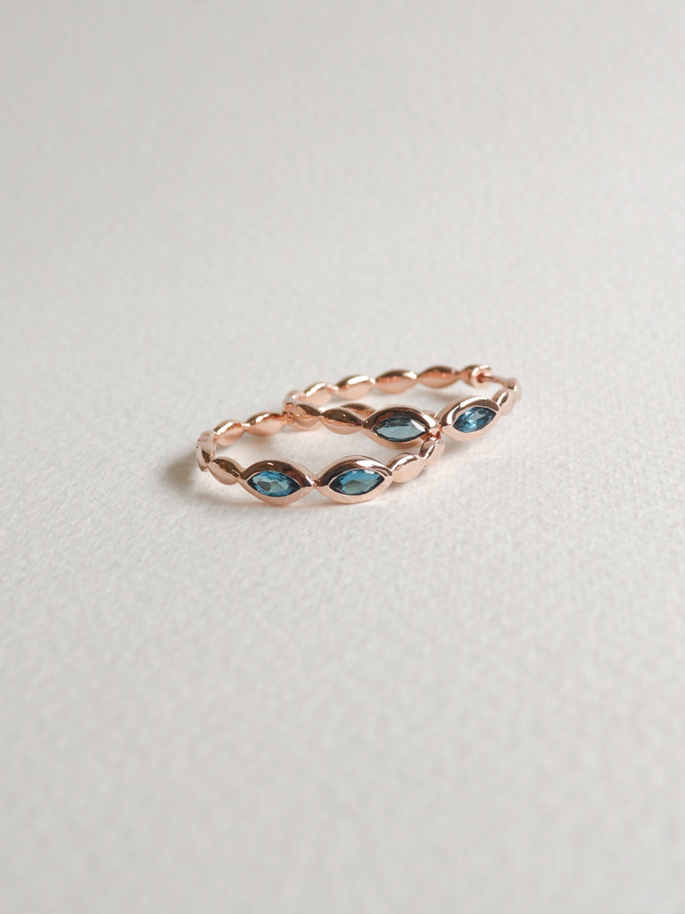 Leona Hoops - London Blue Topaz in Rose Gold