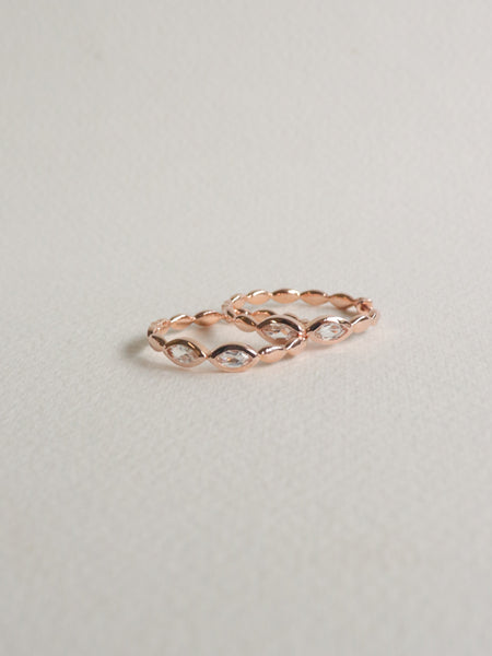 Leona Hoops - White Topaz in Rose Gold