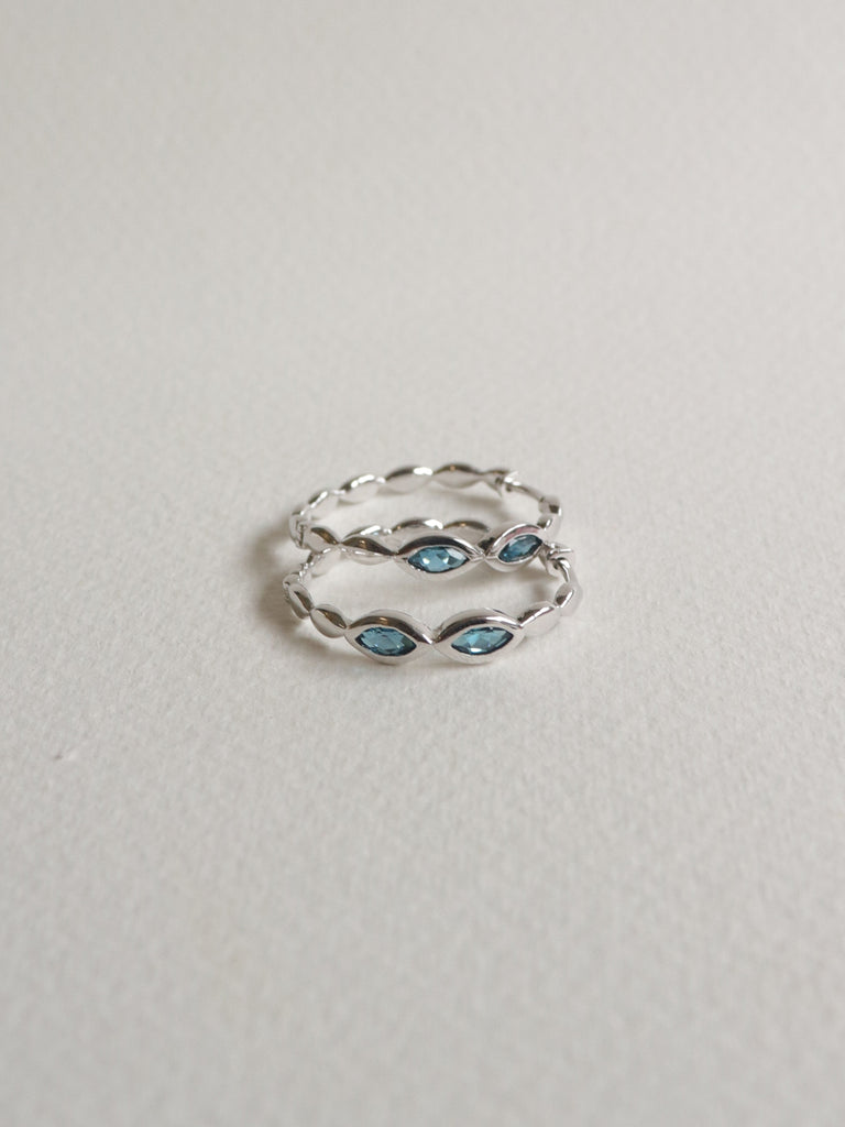 Leona Hoops - London Blue Topaz in Silver