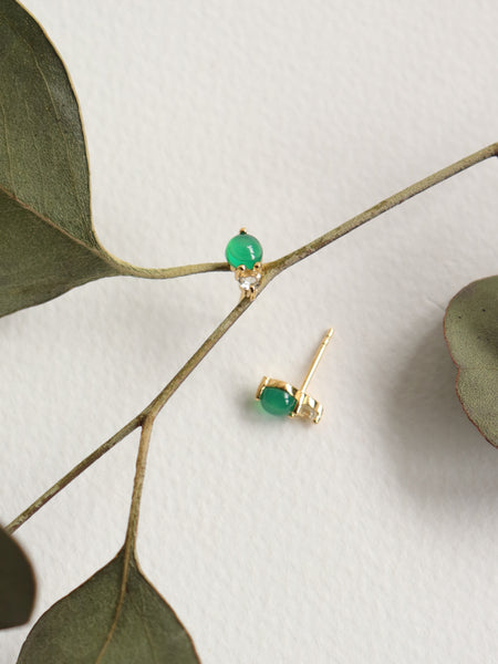 Luisa Earstuds - Green Onyx and Green Amethyst in Gold