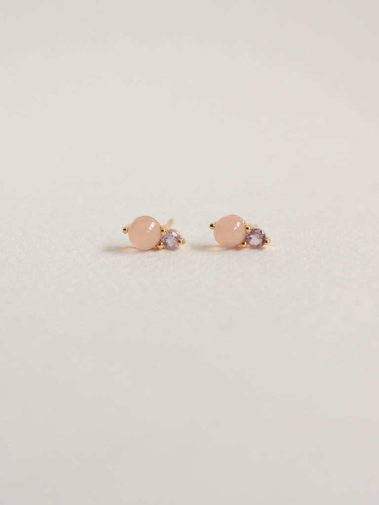 Luisa Earstuds - Pink Chalcedony and Pink Amethyst in Gold