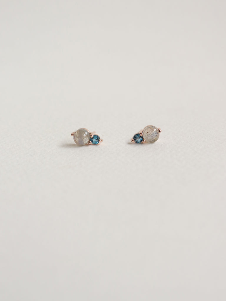 Luisa Earstuds - Labradorite and London Blue Topaz in Rose Gold