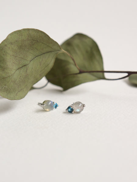 Luisa Earstuds - Labradorite and London Blue Topaz in Silver