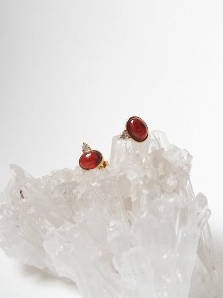 Orb Ear Studs - Garnet in Gold