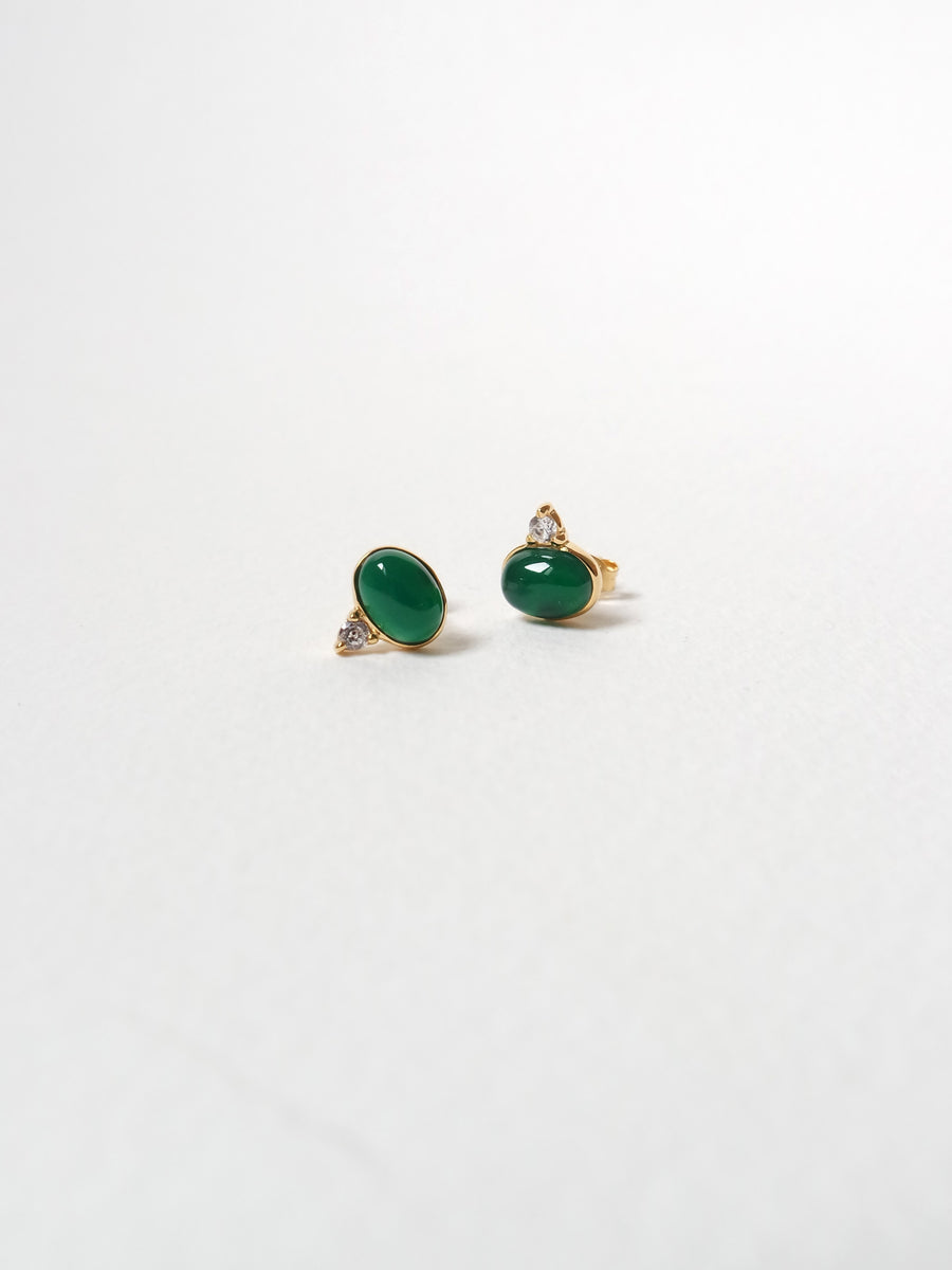 Orb Ear Studs - Green Onyx (Gold)