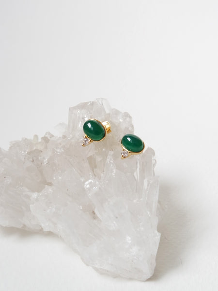 Orb Ear Studs - Green Onyx in Gold