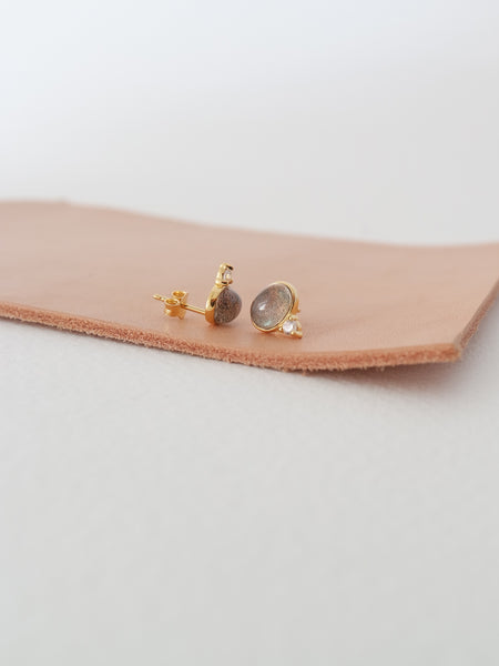 Orb Ear Studs - Labradorite in Gold