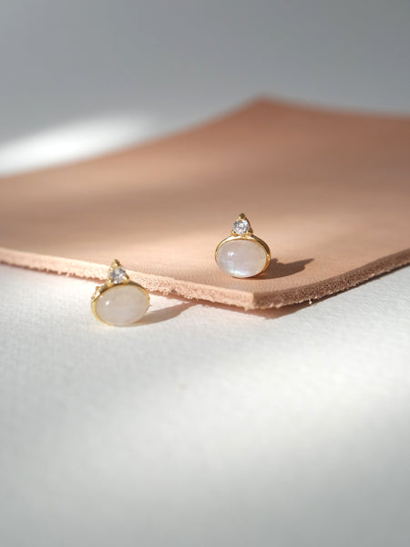Orb Ear Studs - Moonstone in Gold