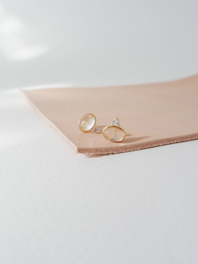 Orb Earstuds - Rose Quartz in Gold