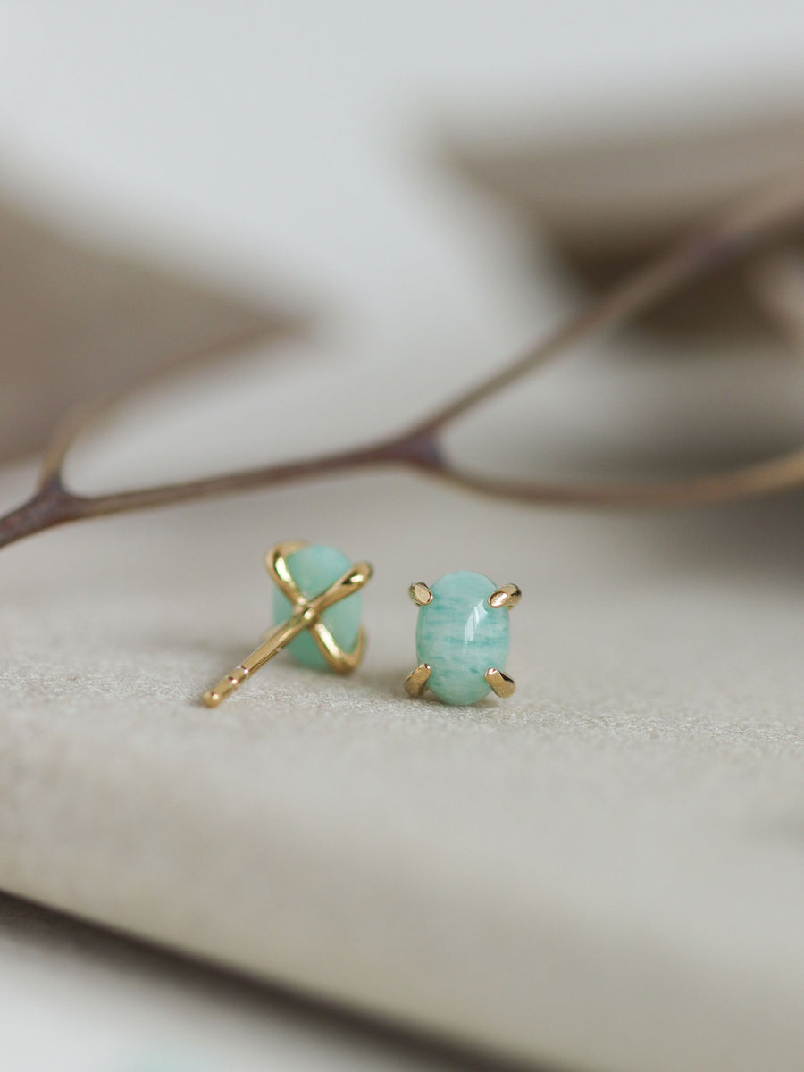 Ovo Ear Studs - Amazonite (Gold)