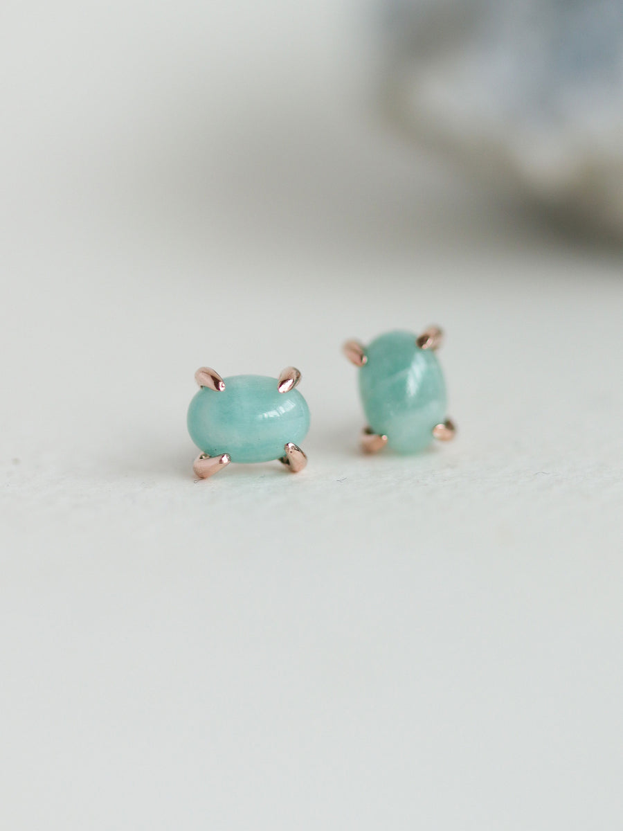 Ovo Ear Studs - Amazonite (Rose Gold)