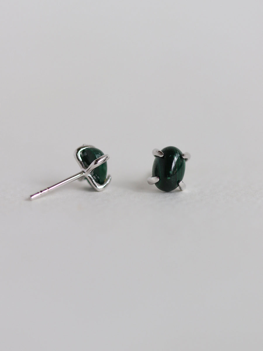 Ovo Ear Studs - Malachite (Silver)