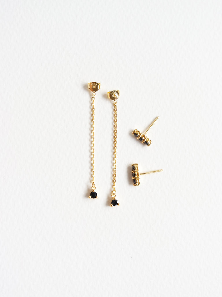 Ella Earrings - Black Spinel Drop in Gold