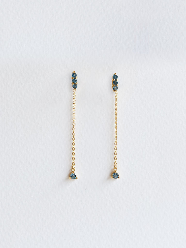 Ella Earrings - London Blue Topaz Drop in Gold