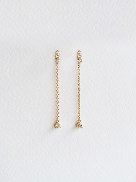 Ella Earrings - White Topaz Drop in Gold