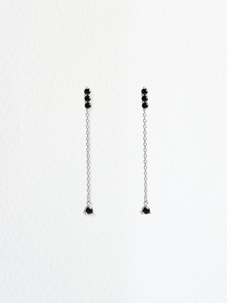 Ella Earrings - Black Spinel Drop in Silver