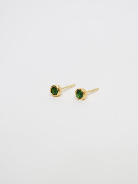 Emma Earstuds - Green Agate in Gold