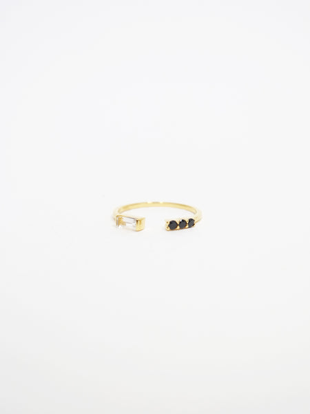 Erika - White Topaz / Black Spinel Open Ring in Gold