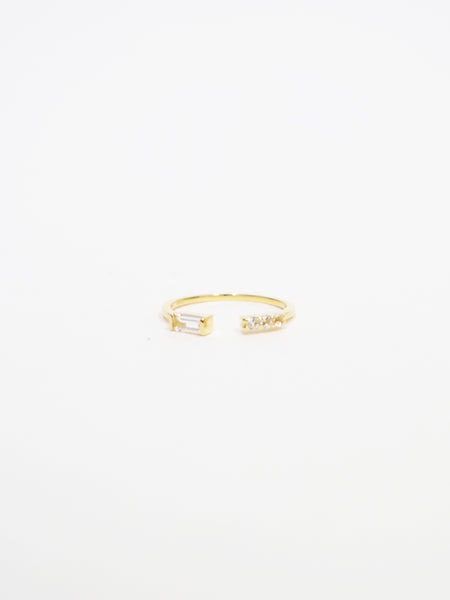 Erika - White Topaz Open Ring in Gold
