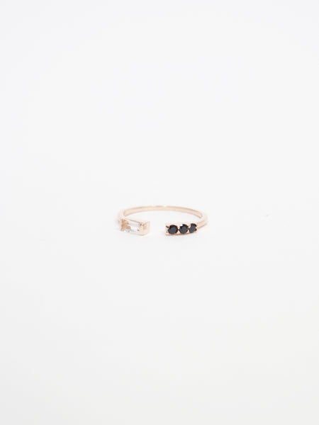 Erika - White Topaz / Black Spinel Open Ring in Rose Gold