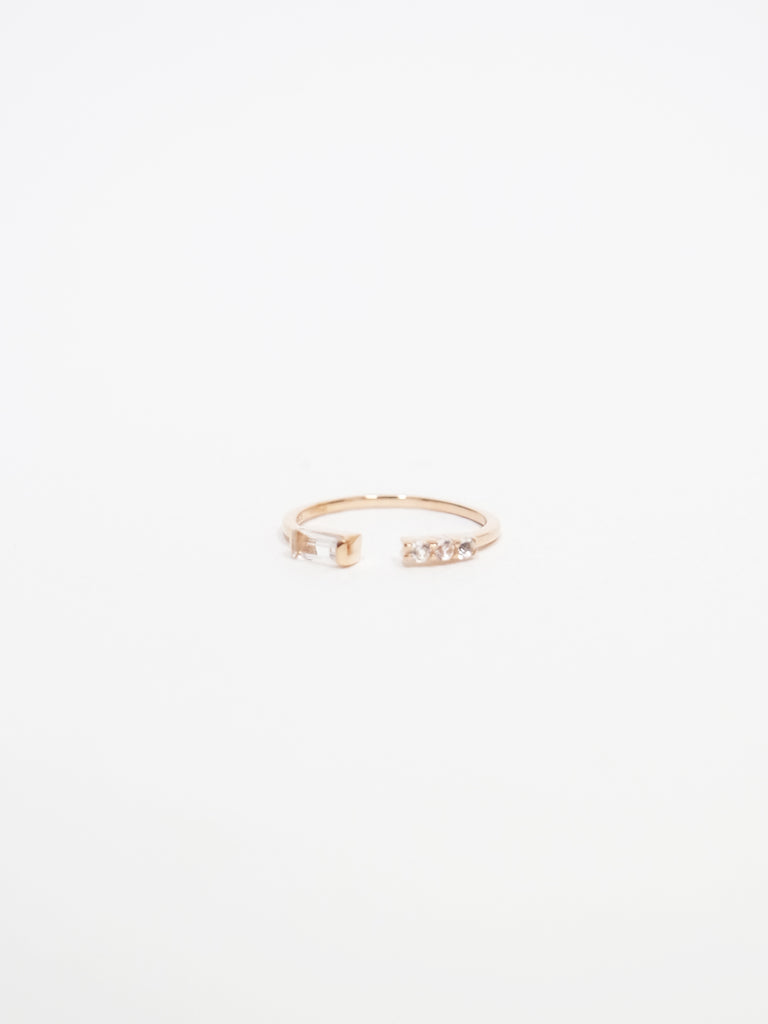 Erika - White Topaz Open Ring in Rose Gold