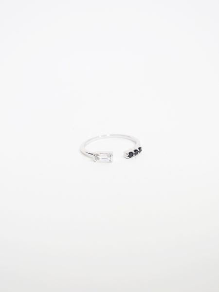 Erika - White Topaz / Black Spinels Open Ring in Silver