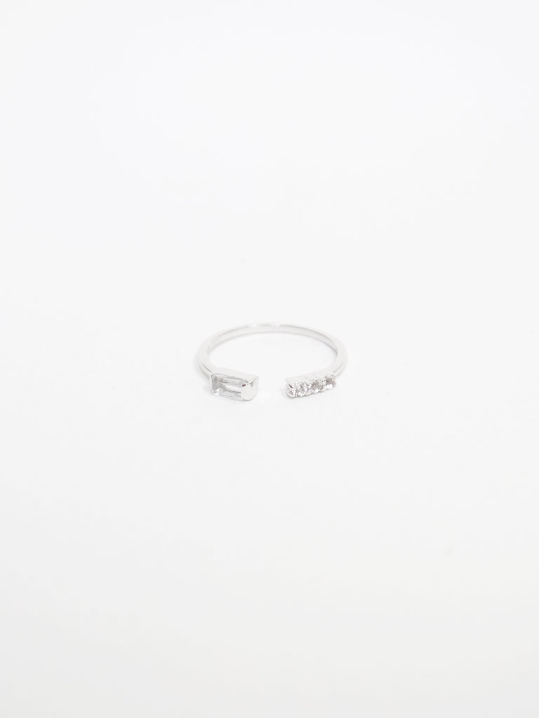 Erika - White Topaz Open Ring in Silver
