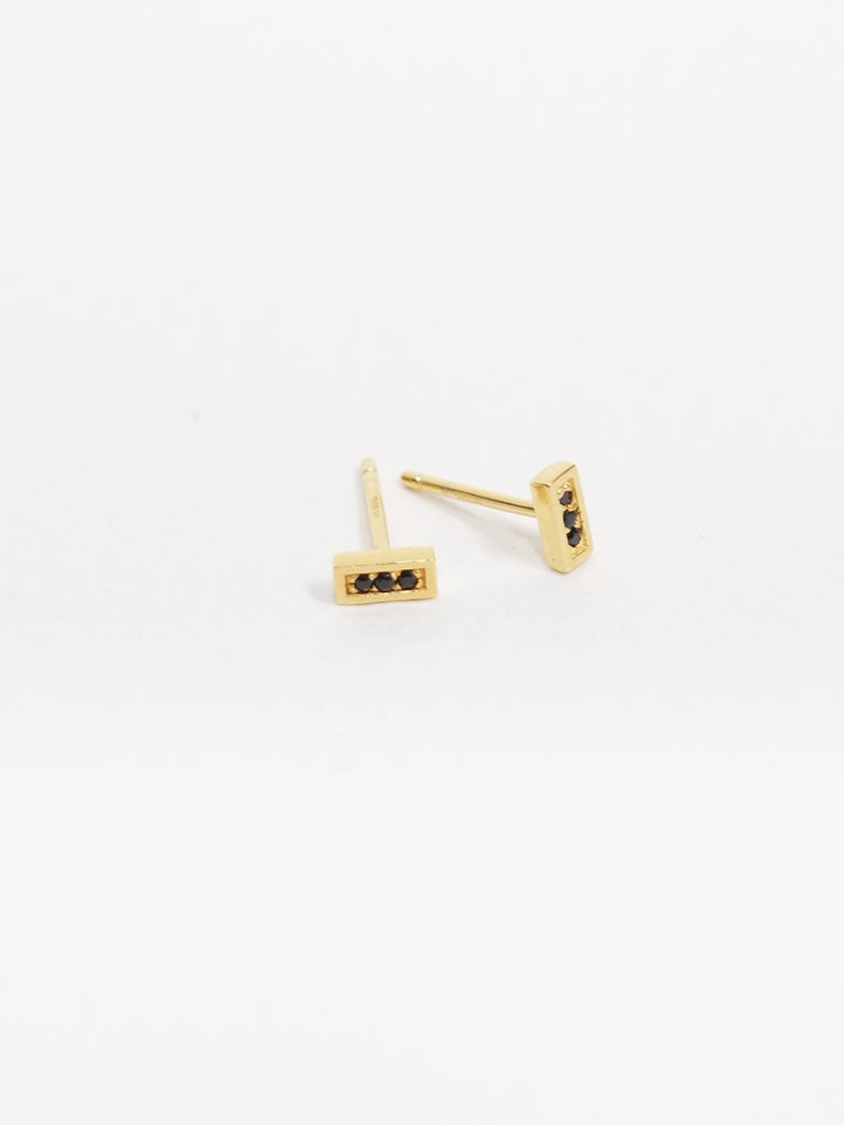 Estelle Earstuds - Black Spinel in Gold