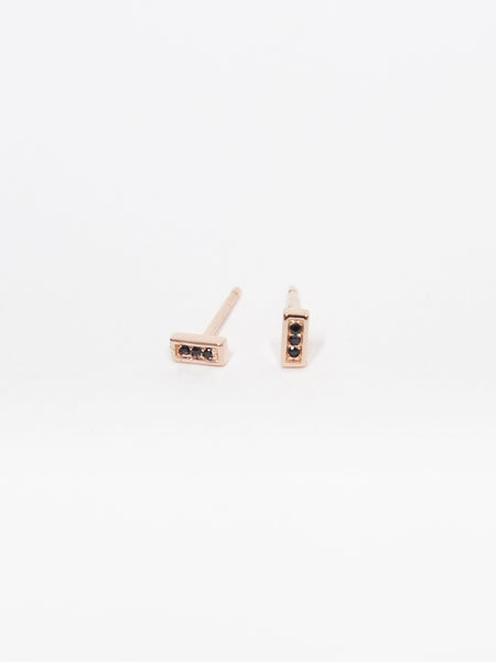 Estelle Earstuds - Black Spinel in Rosegold
