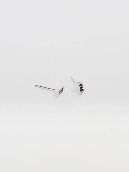 Estelle Earstuds - Black Spinel in Silver