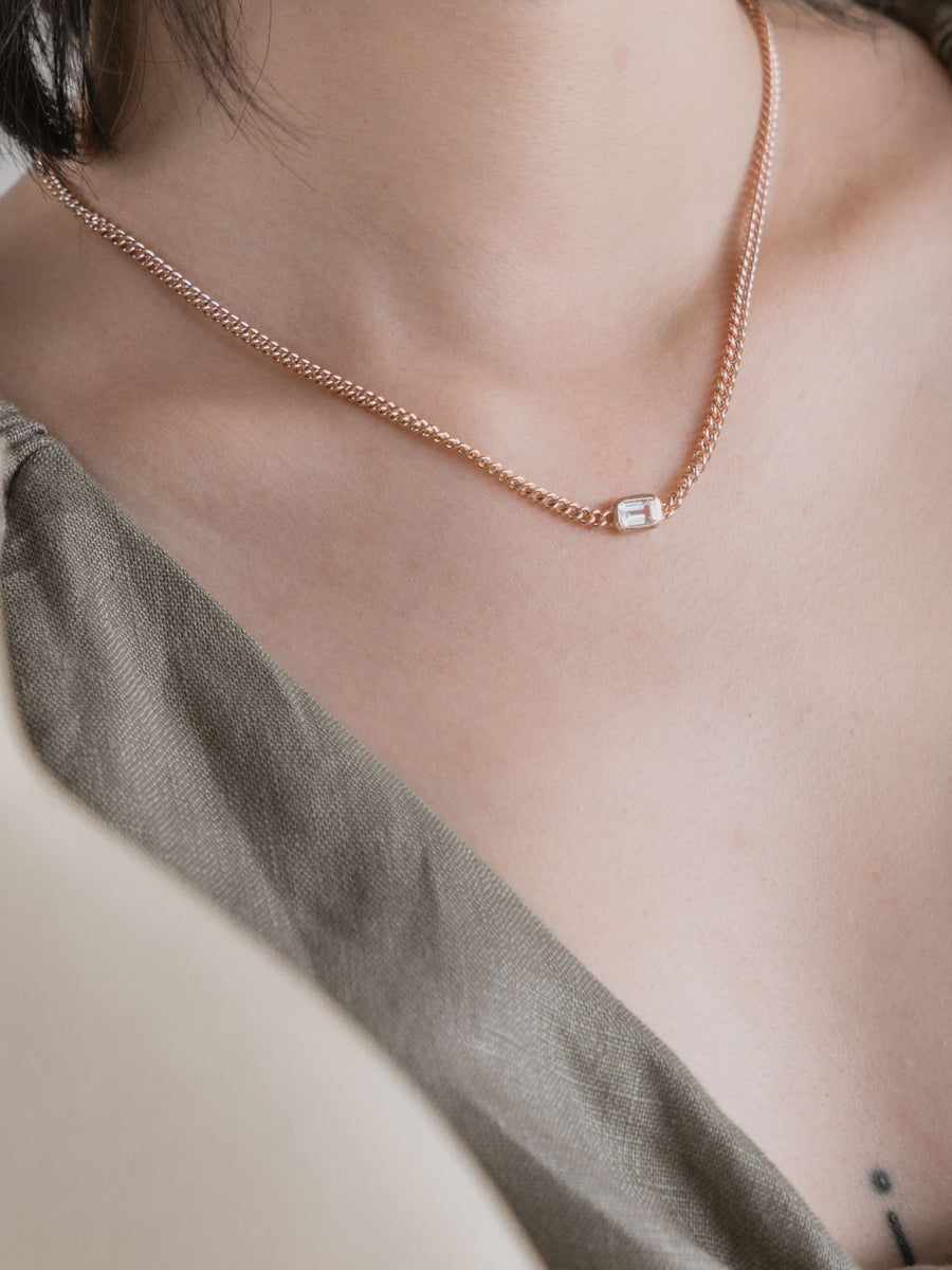 1940 Necklace - White Topaz (Rose Gold)