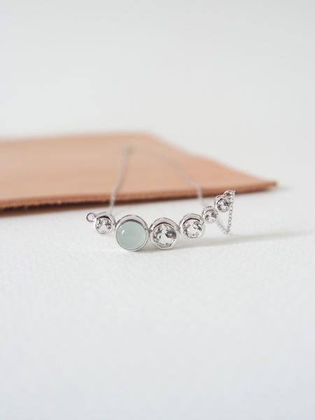 Curve - White Topaz with Chalcedony in Silver