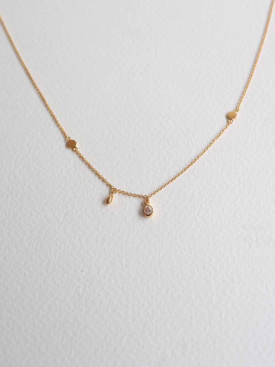 Harriet Asymmetrical Necklace - White Topaz (Gold)
