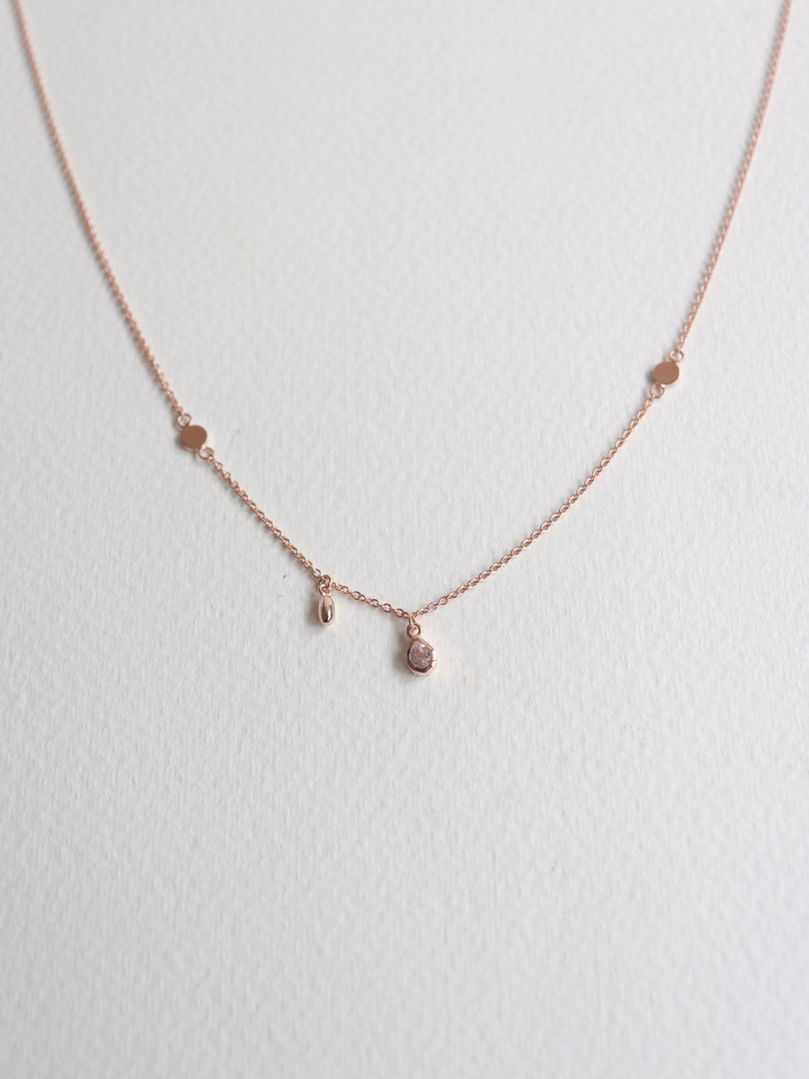 Harriet Asymmetrical Necklace - White Topaz (Rose Gold)