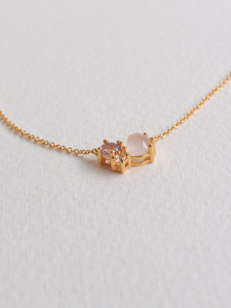 Jayne Necklace - Rose Quartz (Gold)