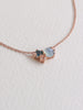 Jayne Cluster Necklace - Blue Chalcedony, London Blue Topaz and White Topaz on Rose Gold