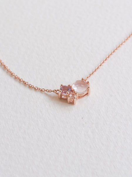 Jayne Cluster Necklace - Rose Quartz, Pink Amethyst and White Topaz on Rose Gold