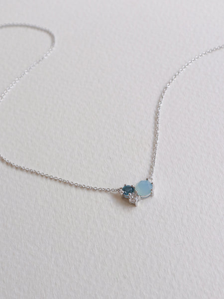 Jayne Cluster Necklace - Blue Chalcedony, London Blue Topaz and White Topaz on Silver