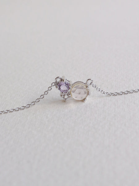 Jayne Cluster Necklace - Rose Quartz, Pink Amethyst and White Topaz on Silver