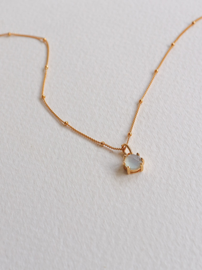 Josie Necklace - Rose Cut Blue Chalcedony on Gold