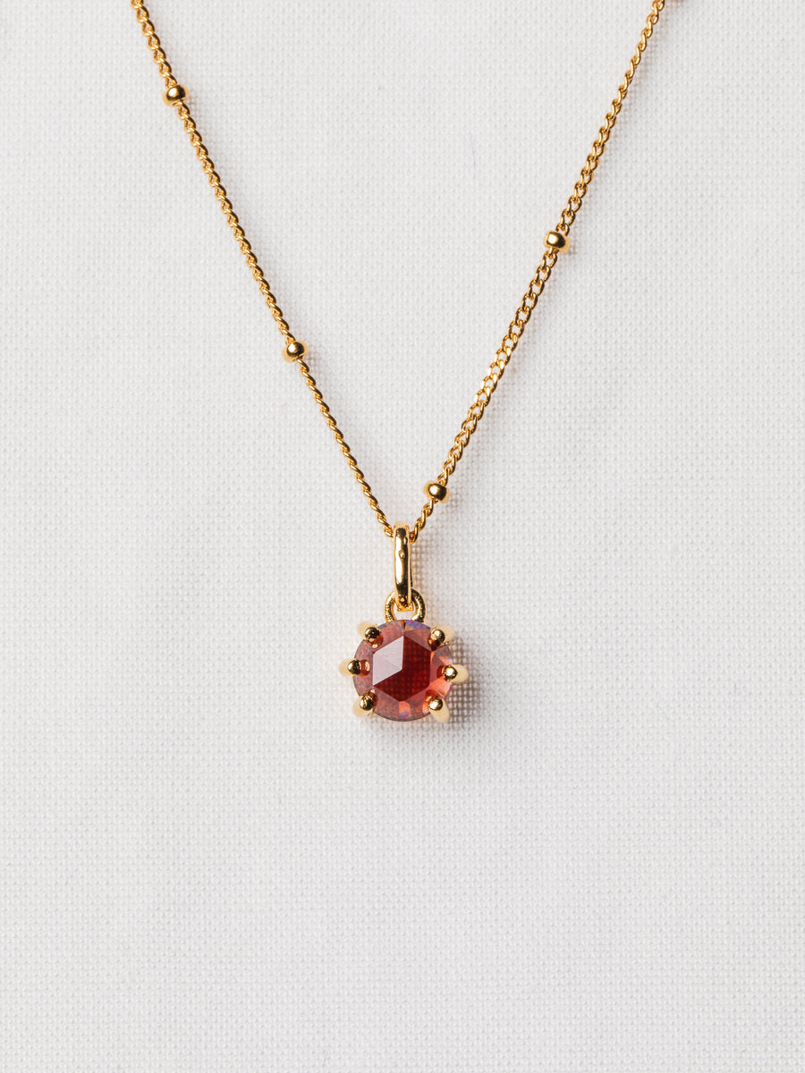 Josie Necklace - Rose Cut Garnet on Gold