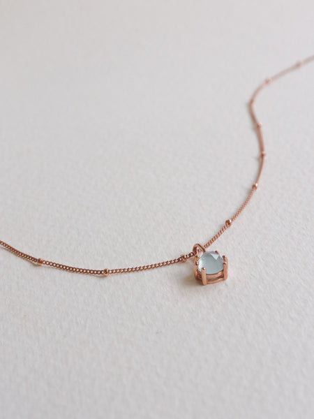 Josie Necklace - Rose Cut Blue Chalcedony on Rose Gold