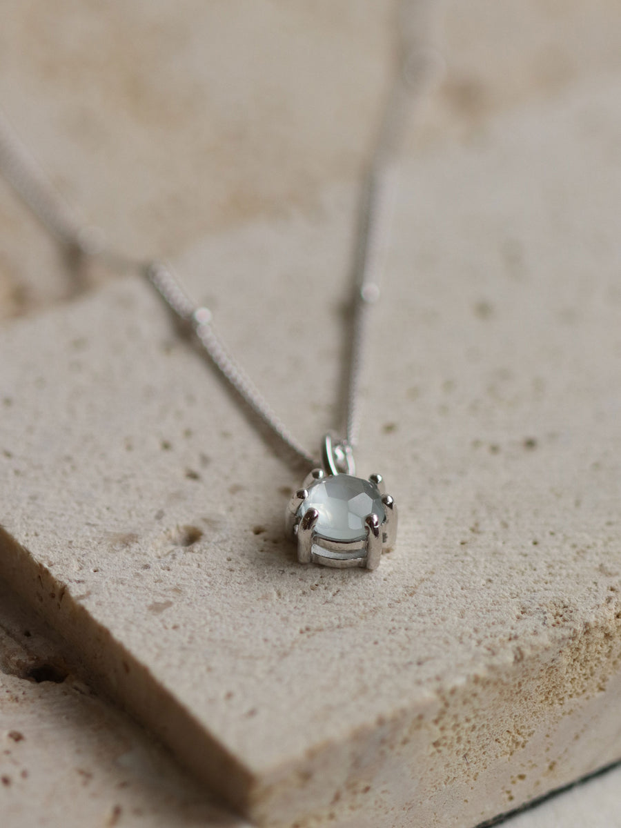 Josie Necklace - Aquamarine (Silver)