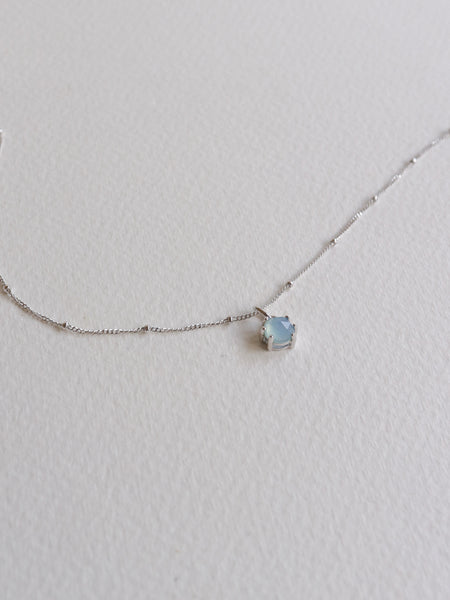 Josie Necklace - Rose Cut Blue Chalcedony on Silver