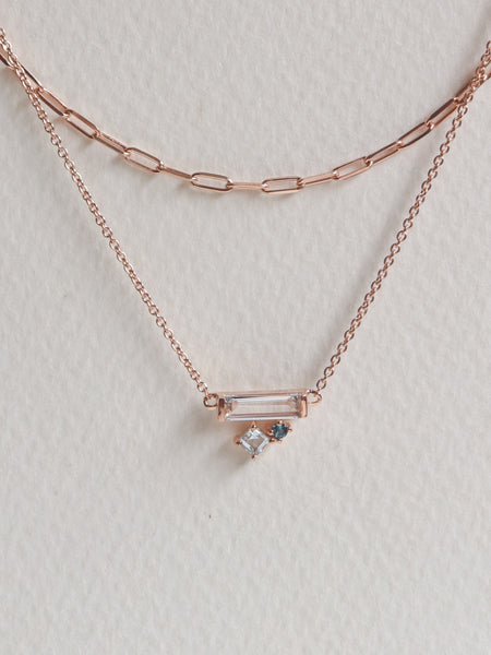 Kirsten Layered Necklace - Blue Topaz (Rose Gold)